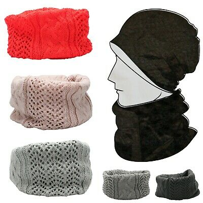 Kids Boys Girls Hollow Cable Knitted Loop Tube Scarf Neck Warmer Snood Hat Gift