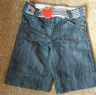 Next Girls Long Denim Shorts/Cropped Jeans and Belt, Adjustable Waist, 4 Years