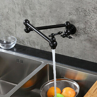 Wall Mount Cold Only Pot Filler Retractable Kitchen Faucet 2Handle Antique Black