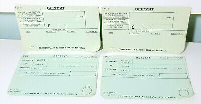4x Vintage Commonwealth Bank Deposit Slips in Pounds!