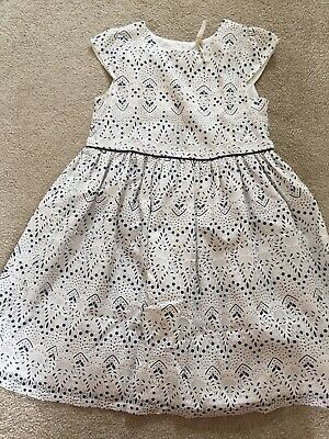 Primark Girls Party Wedding Christening Dress Age 7-8 Years Ivory Navy Worn Once
