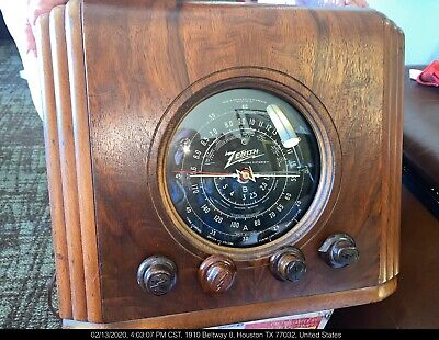 1937 Zenith 5S126 Cube Black Dial Radio Receiver Completely Restored+;Fine Tune