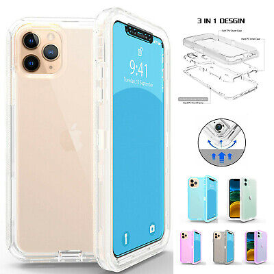 For iPhone 11,11 Pro,11 Pro Max, Clear Defender Case Shockproof Heavy Duty Cover