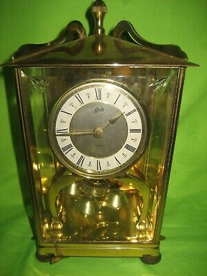 Vintage Schatz & Sohne  German Brass  Lantern 2 Jewel Clock 53 Working