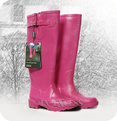 Town & Country Stylish Adjustable Deep Tread Tall Wellington Walking Boots Pink