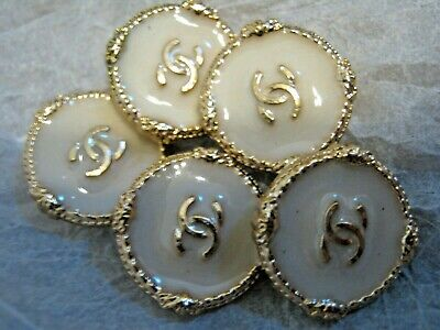 CHANEL 5 OFF white BUTTONS lot of 5 sz 18mm gold metal  cc logo, 5