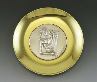 Signed Lalaounis Sterling Silver & Brass Commemorative Waterbearer Plate Plaque