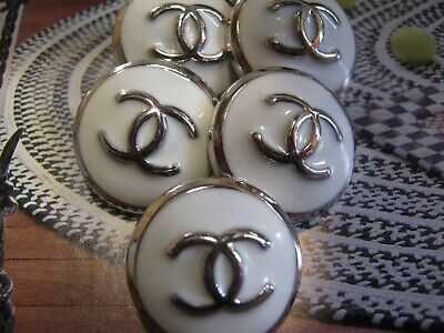 CHANEL 5 BUTTONS lot of 5  sz 20mm  WHITE SILVER  cc logo, FIVE PC