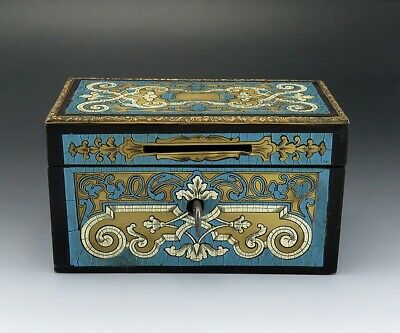 Exquisite 1860s-1870s French Boulework Boulle Work Blue Locking Token / Coin Box