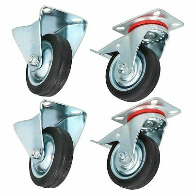 "3"" 75mm Fixed + Swivel Castors with Brakes Wheels Trolley Furniture 4 Pack"