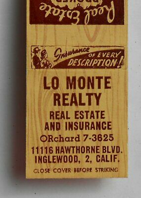1950s Lo Monte Realty Real Estate 11116 Hawthorne Blvd. Inglewood CA Los Angeles
