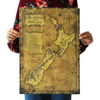 New Zealand Lord Of The Rings Hobbit Map Middle-earth Ancient Navigation Posters