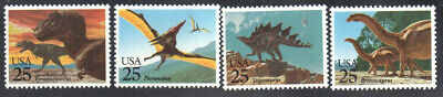 SC#2422 - 2425 - 25c Prehistoric Animals Set of 4 Singles MNH
