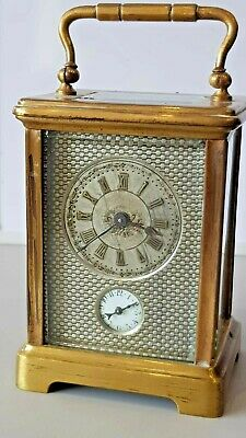 Antique Brass Four Glass Alarm Carriage Clock Silvered Engraved Dial
