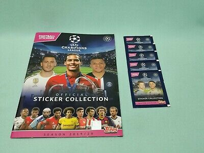 Topps Champions League Sticker 2019/2020 Sammelalbum + 5 Tüten 19/20 Album