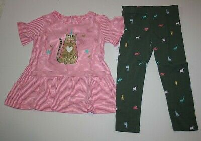 New Carter's Girls 2 Piece 3T Set Outfit Tunic Glitter Kitty Cat & Leggings Pant