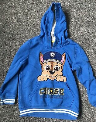 Boys Paw Patrol Chase Novelty Hoody Sweat Jumper Top with Ears 2 to 7 Years