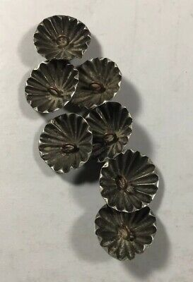 7 Vintage Sterling Silver Handmade Navajo Fluted Buttons.