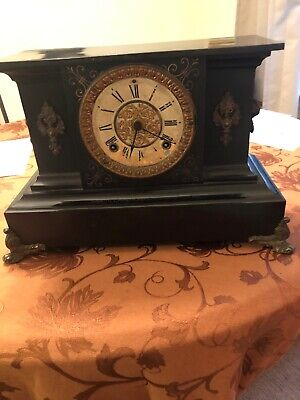 Beautiful Antique Ansonia Cast Iron Mental Clock Without Key And No Bezel.