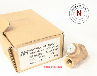 """Newman Hattersley A60M Bronze Y-Check Valve, 1/2"""" Npt, 150S/300Cwp"""