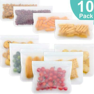 10pcs Kitchen Fresh Zip lock Bag Reusable Silicone Food Freezer Storage Ziplock
