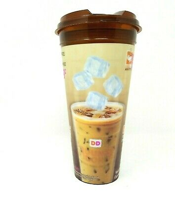 Dunkin Donuts Hologram Hot Or Cold Travel Tumbler Flip Top Lid Cup
