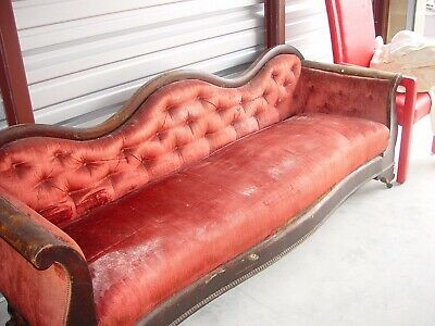 Camelback Red Velvet Quilt Upholstered Setee Sofa Couch, French Victorian 1800's