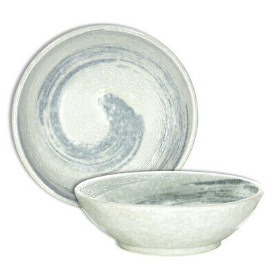 "Japanese Cereal Dessert Soup Dish Bowl 6.5""D Porcelain White Swirl Made in Japan"