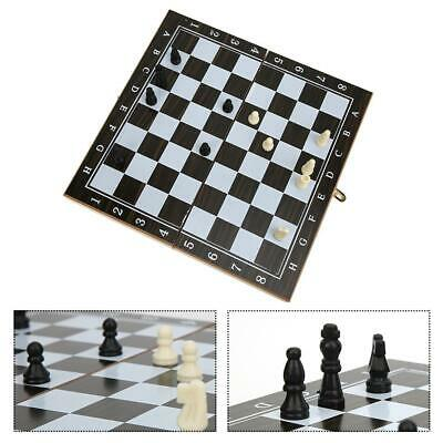 29cm 3in1 Wood Antique International Chess Checker Chess Intelligence Board Game
