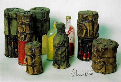 Christo Wrapped cans and bottles 1958 pk- hand signed