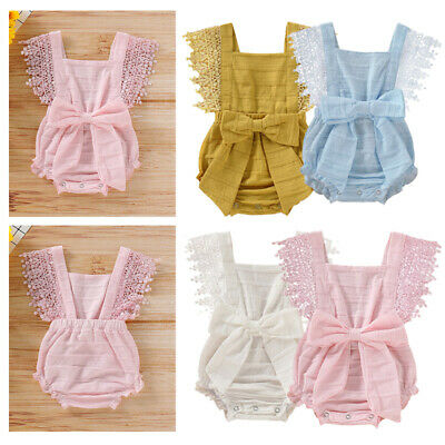 Newborn Baby Girl Lace Bow Backcross Romper Jumpsuit Bodysuit Outfit 0-18 Months
