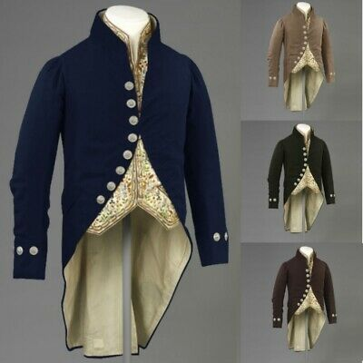 Court Coats Jacket Men Steampunk Victorian Cosplay Medieval Gothic Costume
