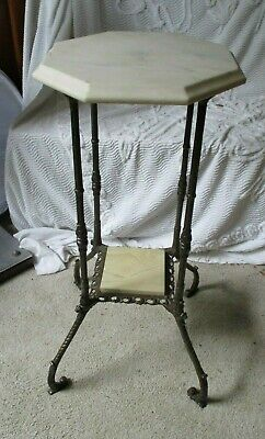 Vintage Victorian Cast Iron w/Marble Plant Stand Table home decor brass accent