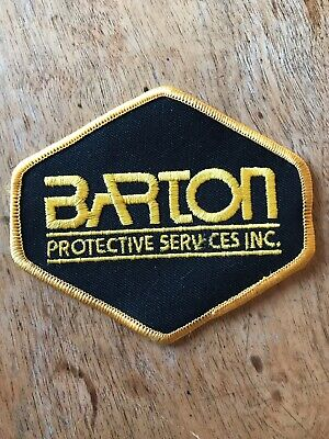 """Vtg Barton Protective Services Sew On Patch 4"""" Embroidered Badge Security"""