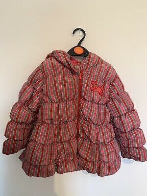[Oilily]Girls Stunning Winter Padded Coat With Hood Age 4 Yrs, Red&pink Checked
