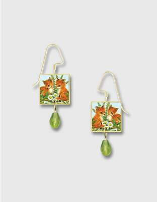 Lemon Tree Earrings Two Foxes and Daisies Print Square Lace Brass Handmade 4336