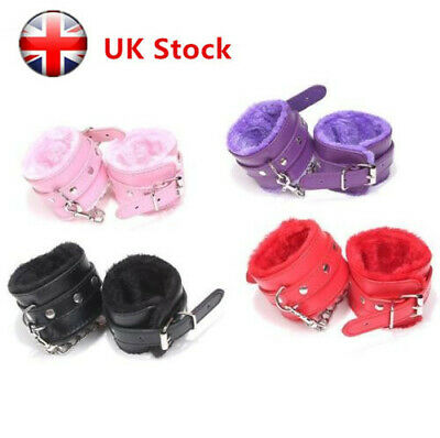 UK Adjustable Handcuff Super Soft Fur Durable Leather Handcuff for Sex Play  Hot