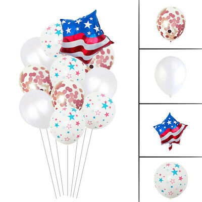 11pcs Balloons Decor Aluminium Film Latex Independence Day Balloon for Gathering