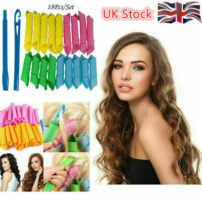 18Pcs Magic Long Hair Curlers Curl Formers Leverage Rollers Spiral 30cm+20cm UK