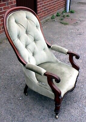 Victorian antique solid carved Cuban mahogany spoonback library armchair chair