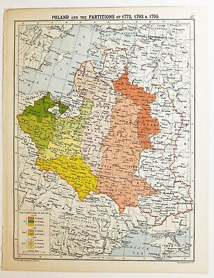 Historical Map Poland & Partitions 1772 1793 & 1795 Ukraine Galicia Lithuania