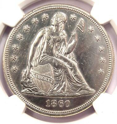 1860 Seated Liberty Silver Dollar $1 - NGC Uncirculated Details (UNC MS) - Rare!