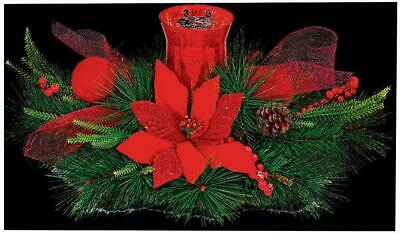 60cm Poinsettia Red Candle Holder Decoration - PREMIER