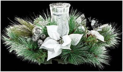 60cm Poinsettia White Candle Holder Decoration - PREMIER