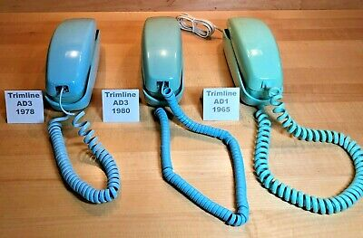 Lot of 3 Vintage Western Electric Trimline rotary dial phones for parts or resto