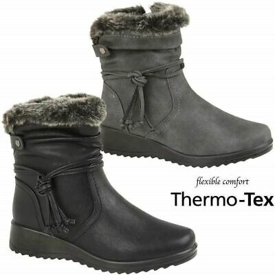 Ladies Womens Comfy Fur Collar Lace Detail Winter Boots Low Wedge Ankle Shoes