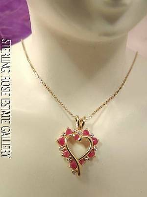 "LOVELY 7/8"" RUBY DIAMOND OPEN HEART VERMEIL Sterling Silver Estate 18"" Necklace"