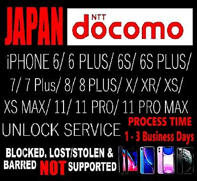 JAPAN NTT DOCOMO IPHONE UNLOCK SERVICE * ALL MODELS *ONLY CLEAN IMEIs