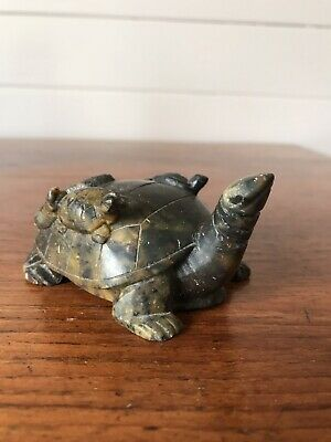 Vintage Chinese Feng Shui Stone Turtle Statue Good Luck Wealth