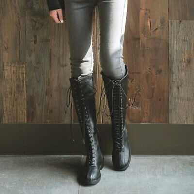 Women Gothic Knee High Boots Lace Up Chunky Heel Faux Leather Zip Up Party Shoes